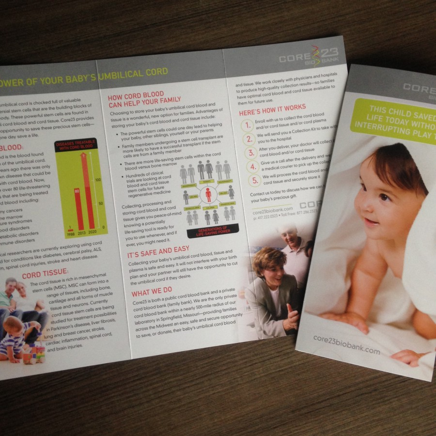 cord blood video brochure on black background